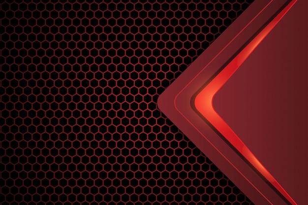 어두운 빨간색 육각형 배경에 추상 디자인