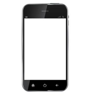 空白の画面isolatと抽象的なデザインの現実的な携帯電話
