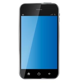 白い背景で隔離の空白の画面と抽象的なデザインの現実的な携帯電話。ベクトルイラスト