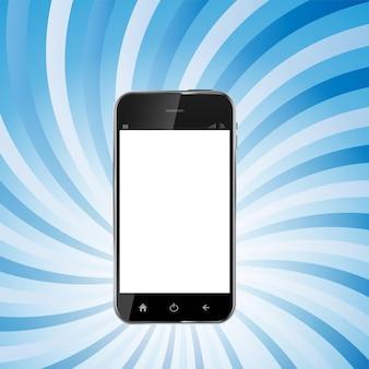 空白の画面と抽象的なデザインの現実的な携帯電話。ベクトル図