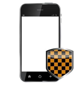 保護シールド付きの抽象的なデザインの現実的な携帯電話i