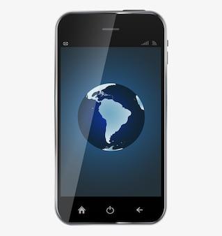「スマートフォンの全世界」画面が白い背景で隔離の抽象的なデザインのリアルな携帯電話..ベクトル図