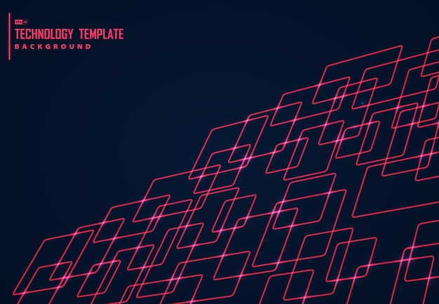 Abstract design of red square technology design background.