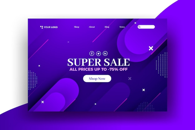 Abstract design sale web landing page