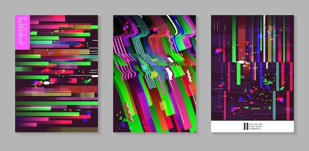 글리치 스타일의 추상 디자인 모음입니다. 포스터, 표지, 배너, 전단지, 현수막을 위한 기하학적 모양이 있는 최신 유행 배경 템플릿. 벡터 일러스트 레이 션