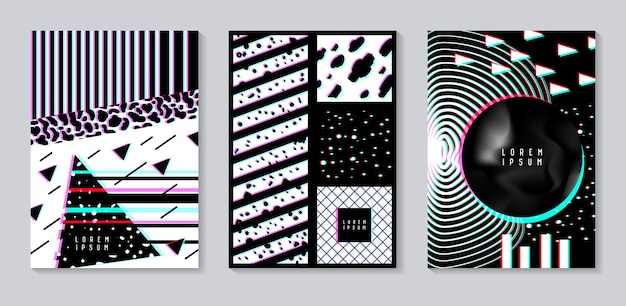 Abstract design set with glitch effect. trendy background templates with geometric shapes for posters, covers, banners, flyers, placards. vector illustration