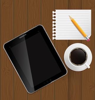 抽象的なデザインのタブレット、コーヒー、鉛筆、ボード上の空白のページbac
