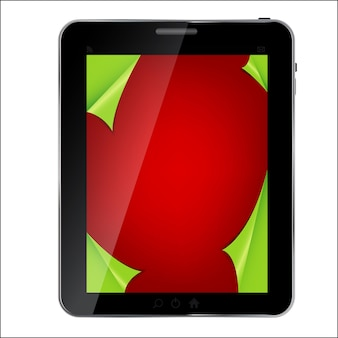 Abstract design tablet with christmas background. vector illus