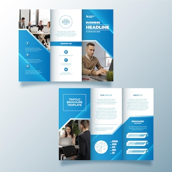 Abstract design trifold brochure with photo