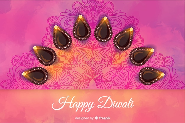 Abstract design watercolour diwali background