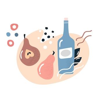 梨とワインまたはサイダーのボトルと抽象的なデザイン。ベクトルイラスト