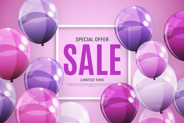 Abstract designs sale banner template with balloons