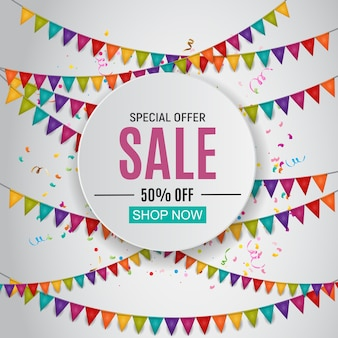 Abstract designs sale banner with balloons and flags
