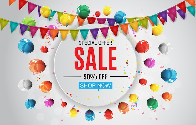 Abstract designs sale banner with balloons and flags.