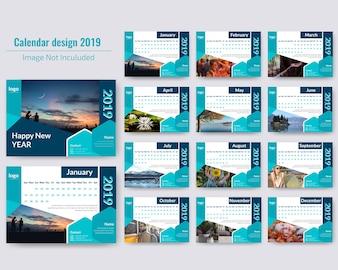 Abstract Desk Calendar 2019