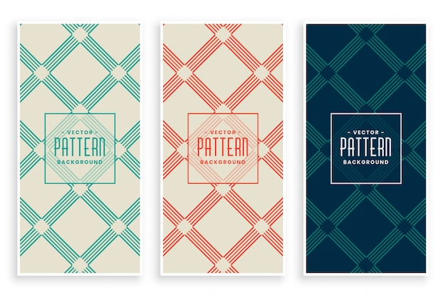 Abstract diagonal lines geometric pattern set