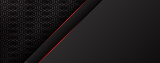 Abstract diagonal lines overlap with red line on black background