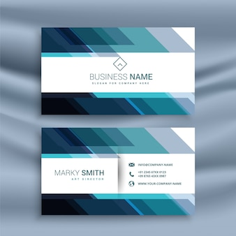 Abstract diagonal lines style blue business card