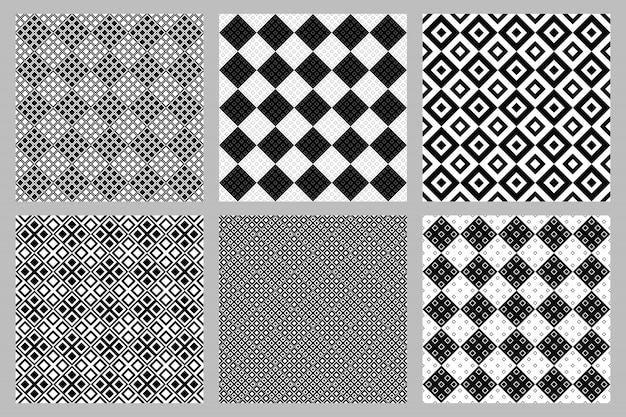 Abstract diagonal square pattern background set