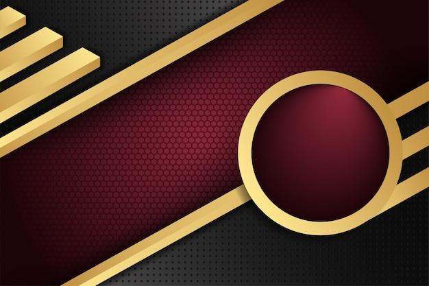 抽象的な斜めのストライプの金の要素の背景赤と黒のグラデーションの色の背景六角形とドットの穴のパターン