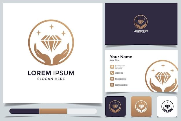 名刺と抽象的なダイヤモンドのロゴ