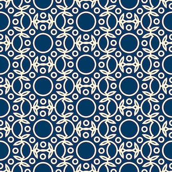 Abstract dichromatic seamless pattern with rounds and leaves