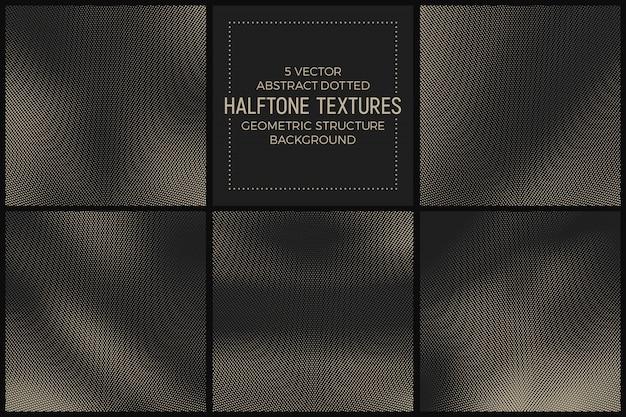 抽象的な異なるハーフトーンテクスチャセット