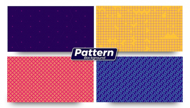 Abstract different pattern shaped backgrounds set