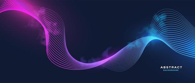 Абстрактный цифровой черный фон с волнистыми линиями