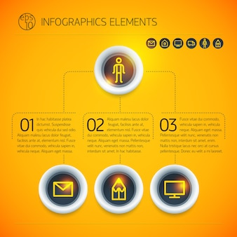 Abstract digital business infographic elements with rings text icons on light orange background isolated