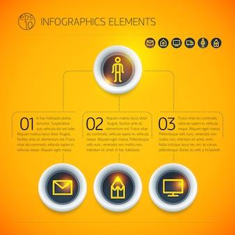 分離された明るいオレンジ色の背景にリングテキストアイコンと抽象的なデジタルビジネスインフォグラフィック要素