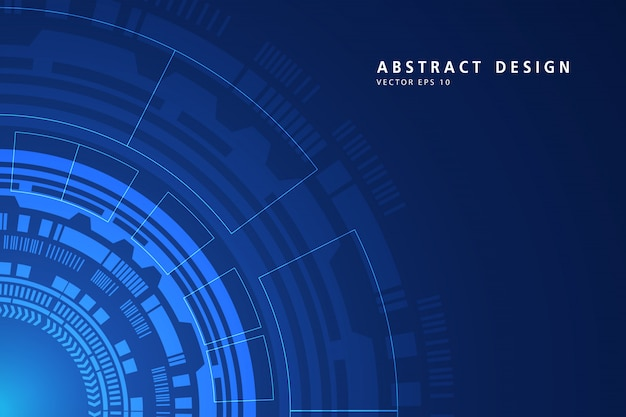Abstract digital on circular technology blue background. wire frame 3d mesh network line, design sphere, high speed and structure.