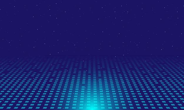 青い背景に抽象的なデジタルコンセプト照明効果光る粒子ドット