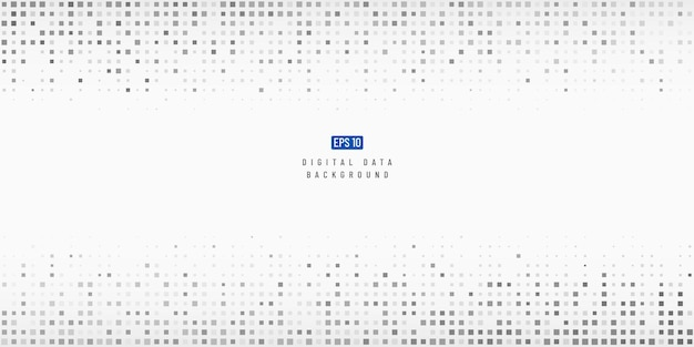 Abstract digital data technology square black and grey pixel background.