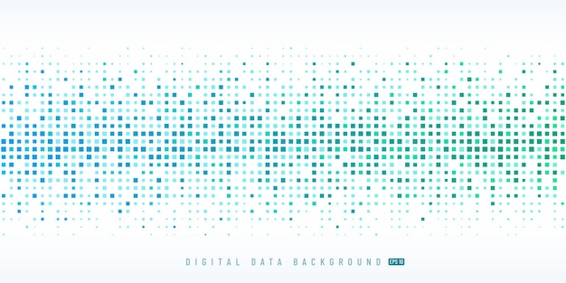 Abstract digital data technology square light blue and green pixel background.