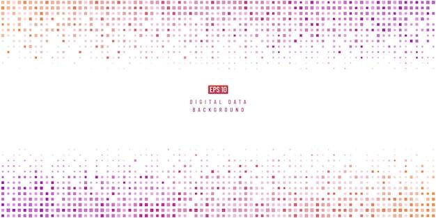 抽象的なデジタルデータ技術の正方形のピンク紫と黄色のピクセルの背景。