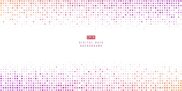 Abstract digital data technology square pink purple and yellow pixel background.