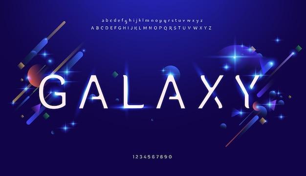 抽象的なデジタル未来的な現代のアルファベットフォント