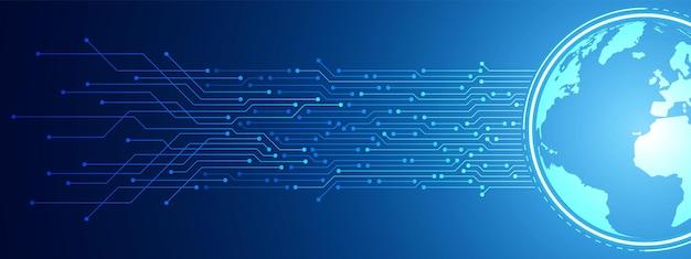 추상 디지털 글로벌 기술 배경, 파란색 회로 기판 패턴, 마이크로칩, 전력선