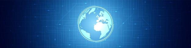 Абстрактный фон цифровых глобальных технологий, синий узор печатной платы, микрочип, линия электропередачи