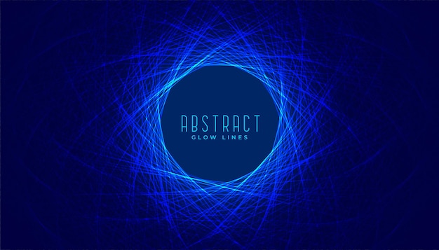 Abstract digital glowing blue lines circular background