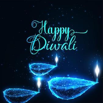抽象的なデジタル幸せなディワリ祭のホリデーグリーティングカードは、diyaランプを燃やす重量を量る