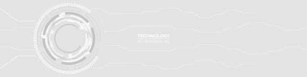 抽象的なデジタルhudguiui技術回路基板ソフトグレーワイドバナー