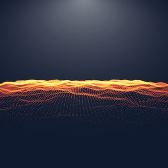 Abstract digital landscape with flowing particles and upper light. cyber or technology background.