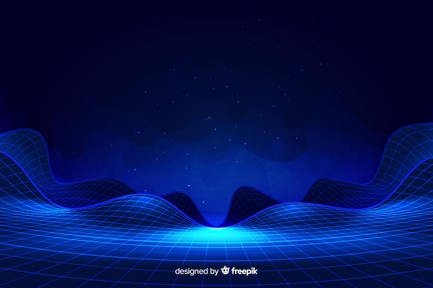 Abstract digital landscape with particles background