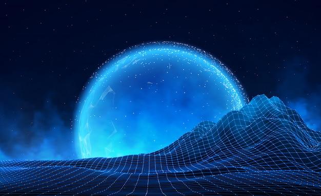 地平線上の星と抽象的なデジタル風景。ワイヤーフレームの風景の背景。ビッグデータ。 80年代レトロなサイエンスフィクションの背景