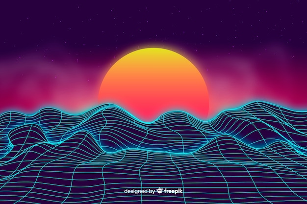 Abstract digital landscape with sunset background