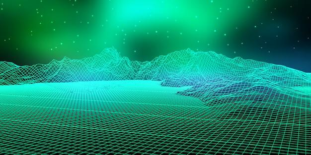 와이어 프레임 디자인으로 추상 디지털 풍경