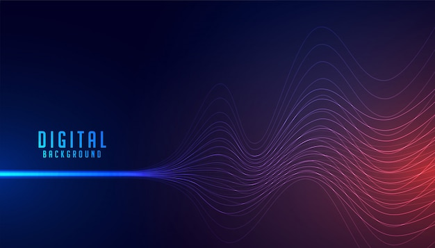 Abstract digital line wire wave technology background