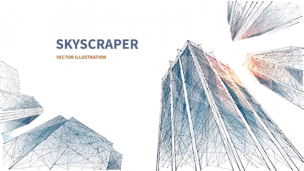 Abstract digital low angle view of skyscrapers. polygons lines, particles, and connected dots. isolated business buildings on white background. 3d technology concept of success and business. polygon